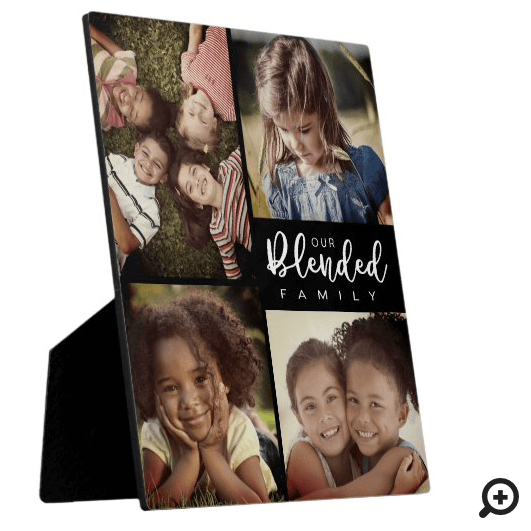 Our Blended Family Four Photo Collage Black Plaque