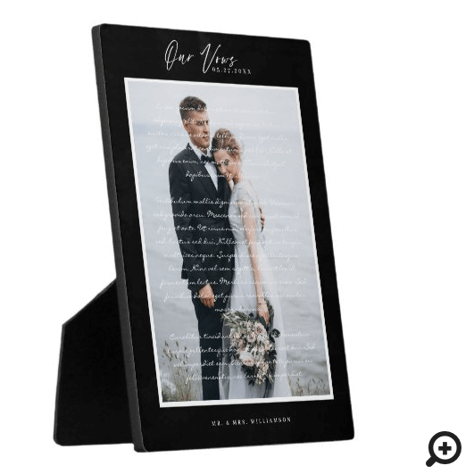 Our Wedding Vows Script & Minimal Black Frame