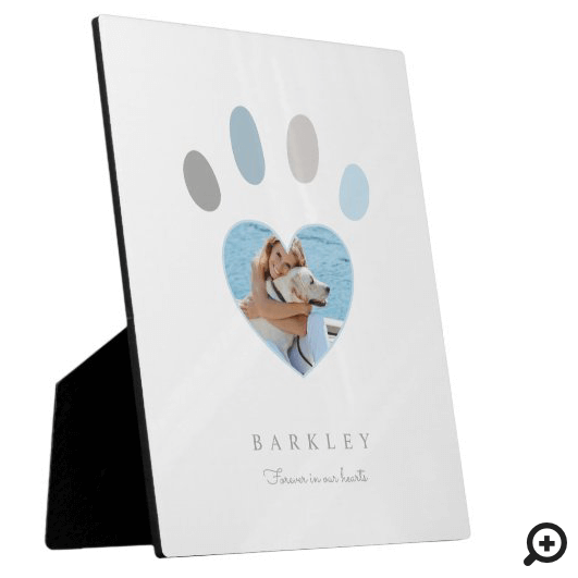 Paw Prints On Our Hearts Photo Memorial White Plaque