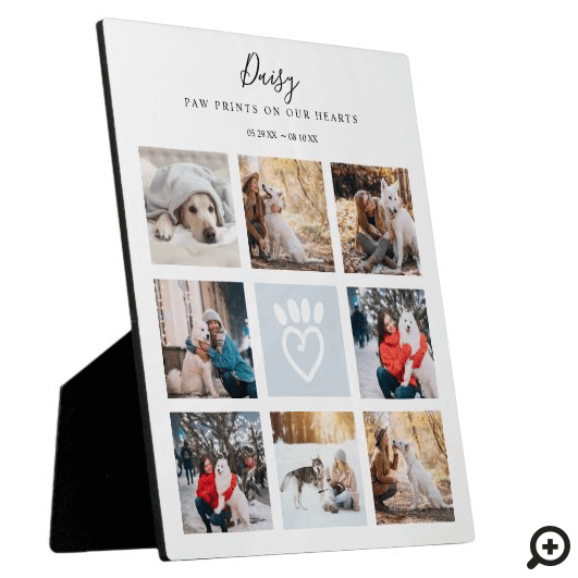 Pet Memorial Photo Collage Paw Prints On Our Heart Plaque