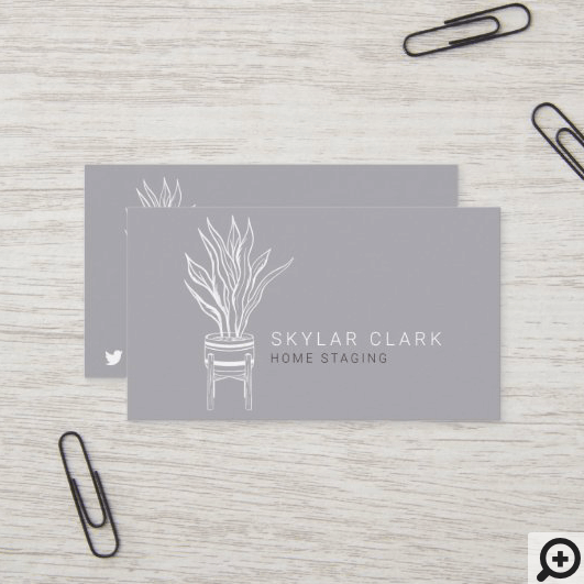 Potted House Plant Home Staging Grey Business Card