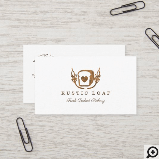 Rustic Wood Grain Bakery Loaf Of Bread Logo Business Card