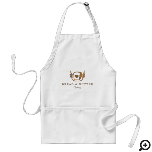 Rustic Woodgrain Bakery Loaf Of Bread Logo Adult Apron