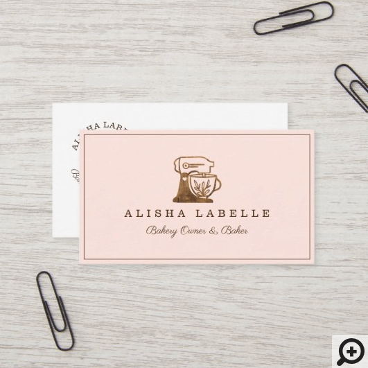 Rustic Woodgrain Style Bakery Stand Mixer Logo Business Card
