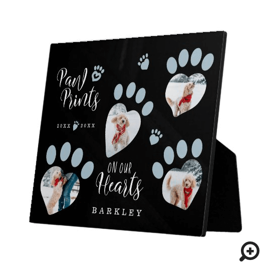 Paw Prints on Our Hearts Paw Print Photo Memorial Plaque