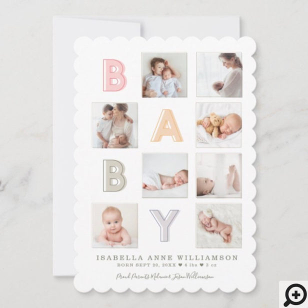 Modern Baby Block Letters Photo Grid Collage Girl Announcement
