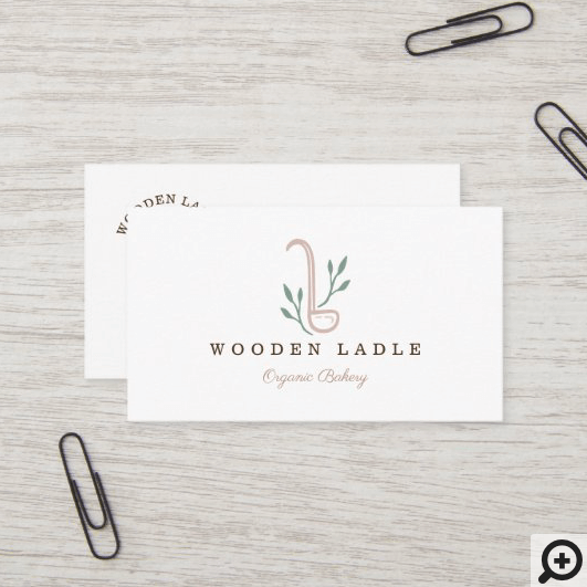 Simple, Clean & Minimal Style Bakery Ladle Logo Business Card