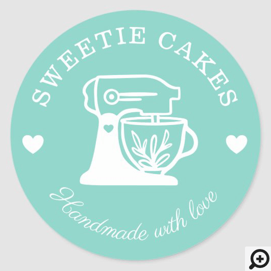 Simple, Clean & Minimal Style Bakery Stand Mixer Classic Round Sticker