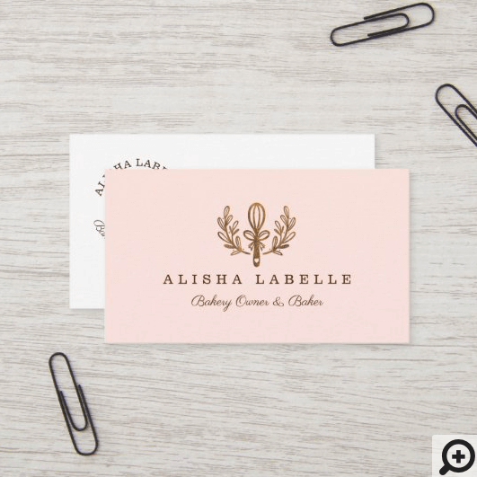 Simple, Clean & Minimal Style Bakery Whisk Logo Business Card