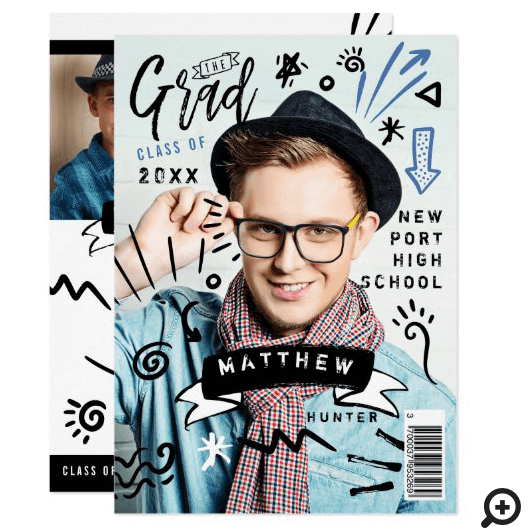 Trendy Doodle Sketch Magazine Cover Boy Grad Party Announcement