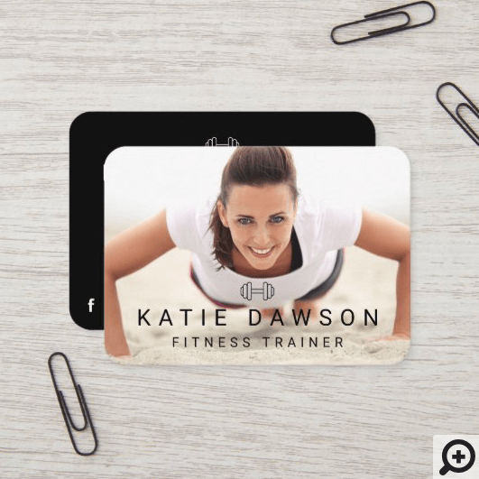 Trendy Personal Trainer Photo & Dumbell Logo Business Card