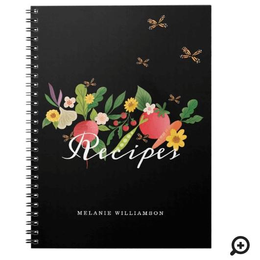 Vegetable Garden Medley, Butterflies Recipes Black Notebook