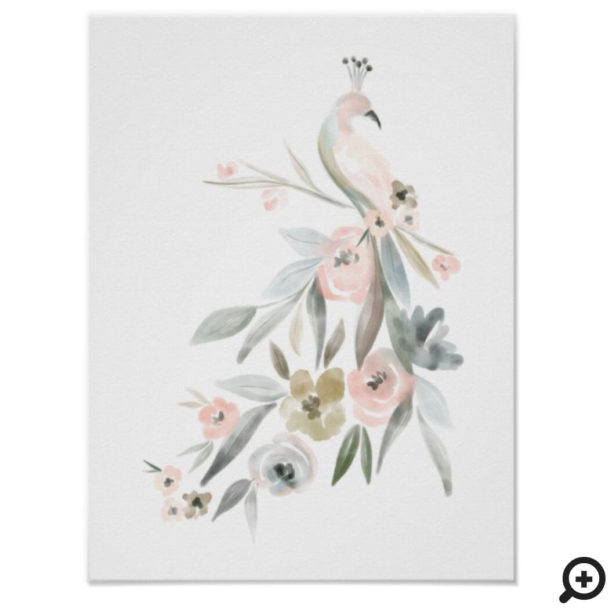 Watercolor Floral Botanical Peacock Illustration Poster