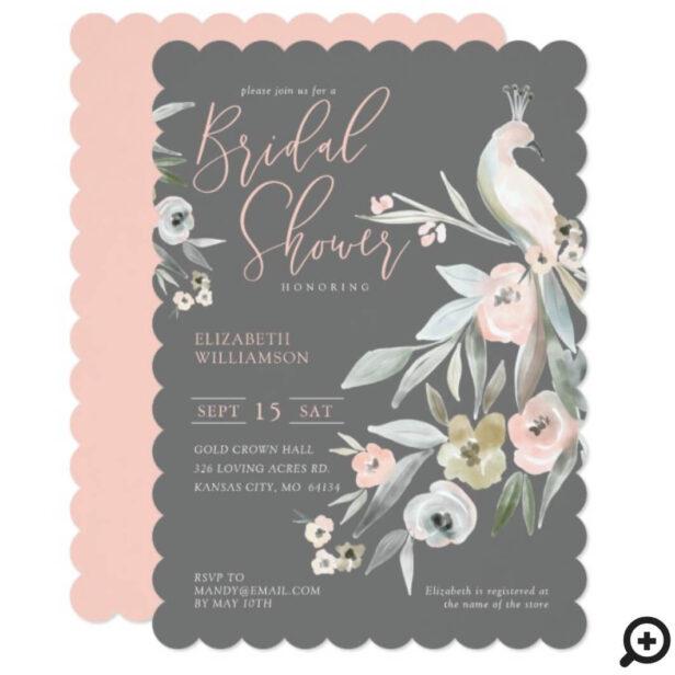 Watercolor Floral Garden Peacock Bridal Shower Invitation