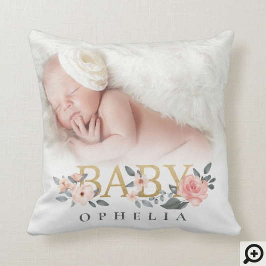Watercolor Floral Rose Baby Photo Custom Name Throw Pillow
