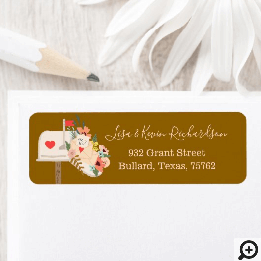 We've Moved Floral & Greenery Mail Box New Address Label