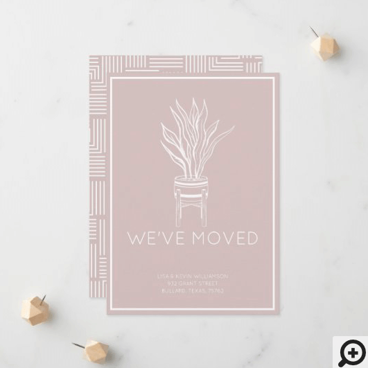 We've Moved Modern Potted House Plant Blush Pink Announcement