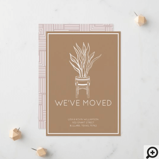 We've Moved Modern Potted House Plant Bronze Announcement