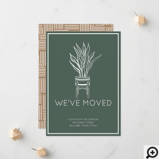 We've Moved Modern Potted House Plant Moss Green Announcement