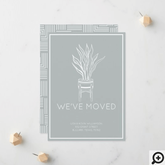 We've Moved Modern Potted House Plant Sage Green Announcement