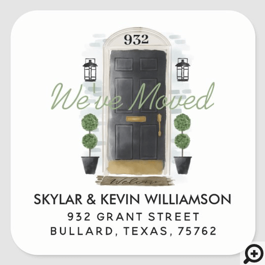 We've Moved - New Address Black Watercolor Door Square Sticker
