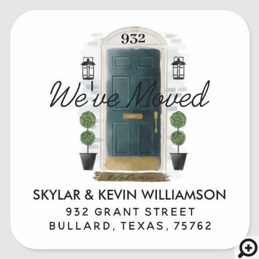 We've Moved - New Address Green Watercolor Door Square Sticker