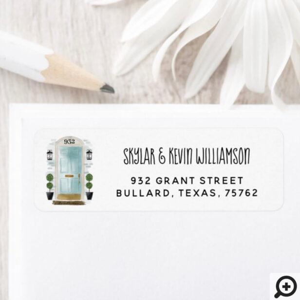 We've Moved - New Address Mint Watercolor Door Label