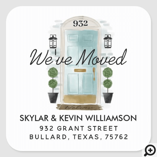 We've Moved - New Address Mint Watercolor Door Square Sticker