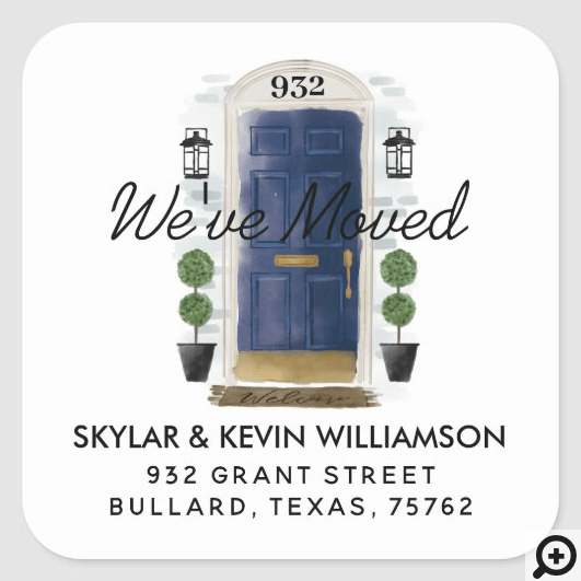 We've Moved - New Address Navy Watercolor Door Square Sticker