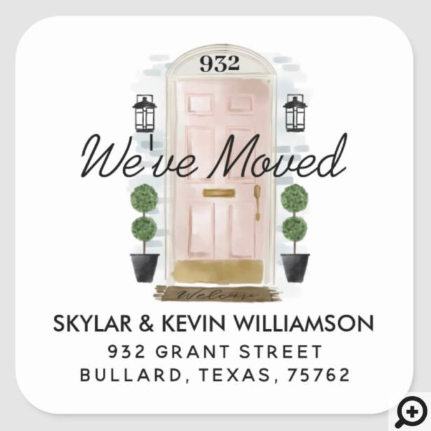 We've Moved - New Address Pink Watercolor Door Square Sticker