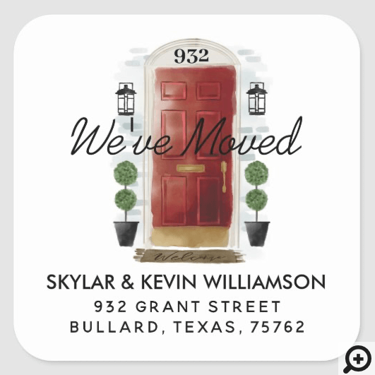 We've Moved - New Address Red Watercolor Door Square Sticker