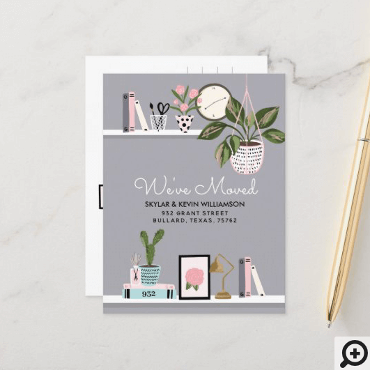 We've Moved - New Address Wall Shelf Decor Moving Announcement Postcard