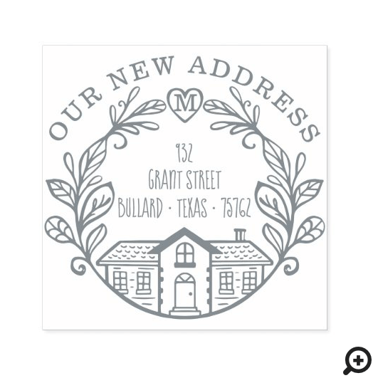 We've Moved Our New Address Home Laurel Wreath Self-inking Stamp