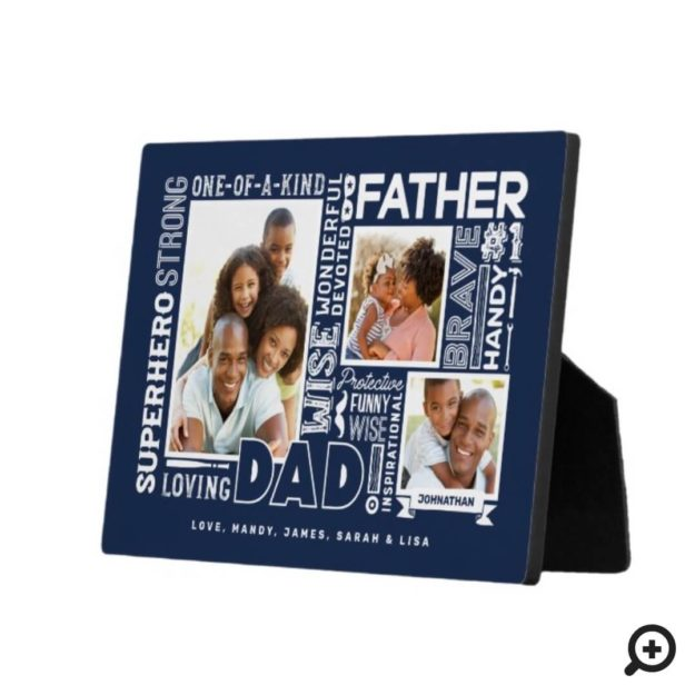 Words For #1 Dad Father's Day Photo Collage Navy Plaque
