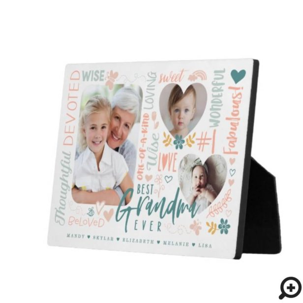 Words for Best Grandma Ever Grandkid Photo Collage Plaque