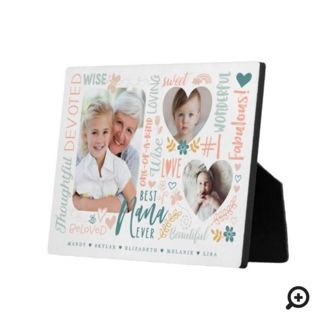 Words for Best Nana Ever Grandkids Photo Collage Plaque