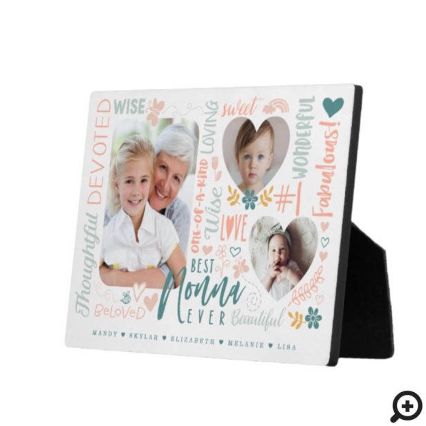 Words for Best Nonna Ever Grandkids Photo Collage Plaque