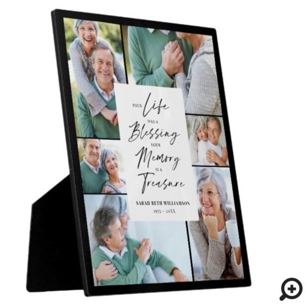 Your Life was a Blessing Photo Collage Memorial Black Plaque