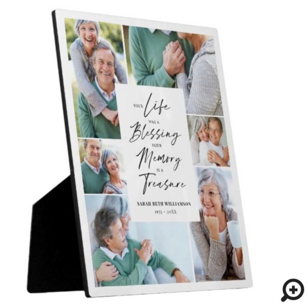 Your Life was a Blessing Photo Collage Memorial White Plaque