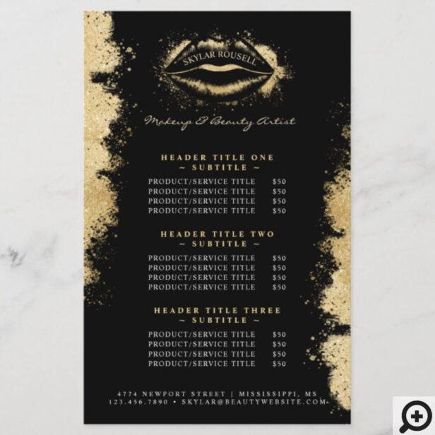 Black Gold Glitter Lips Makeup Artist Price List