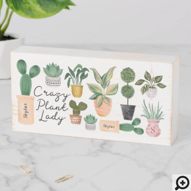 Crazy Plant Lady | Chic Watercolor Potted Plants Wooden Box Sign
