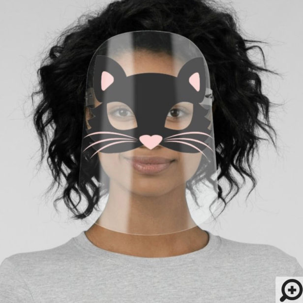 Cute Black Kitty Cat Character Halloween Face Shield