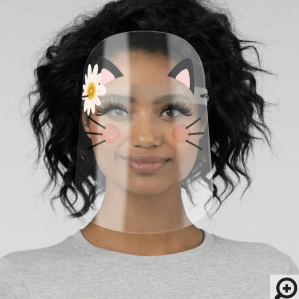 Cute Black Kitty Cat Ears Lashes Whiskers & Flower Face Shield