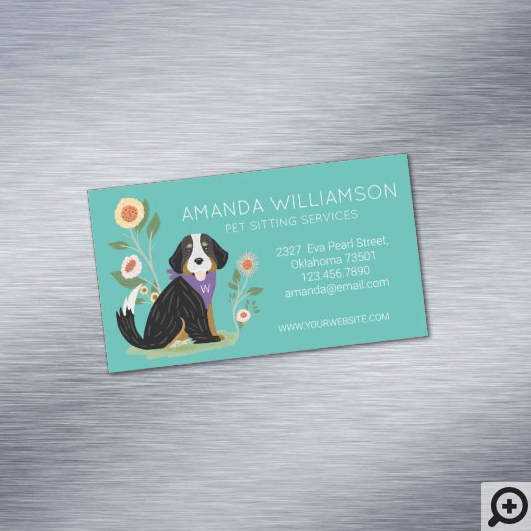 Cute Floral Bernese Mountain Dog Pet Care Services Business Card Magnet