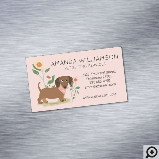 Cute Floral Dachshund Dog Pet Care Services Business Card Magnet