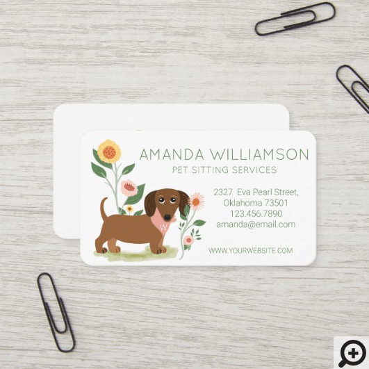 Cute Floral Dachshund Dog Pet Care Services Business Card