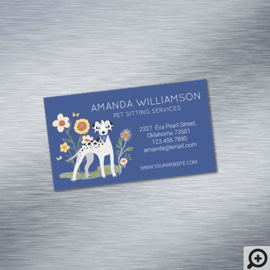 Cute Floral Dalmatian Dog Pet Care Services Business Card Magnet