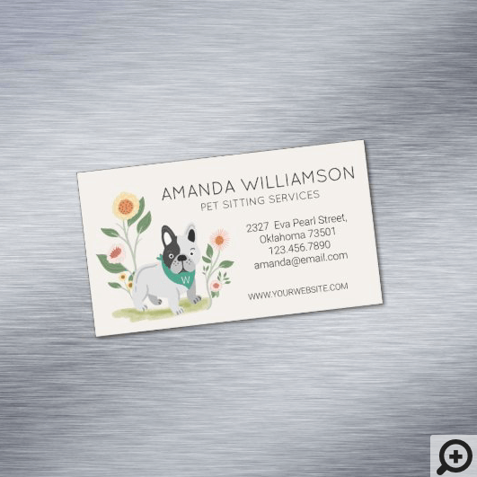 Cute Floral French Bulldog Pet Care Services Business Card Magnet