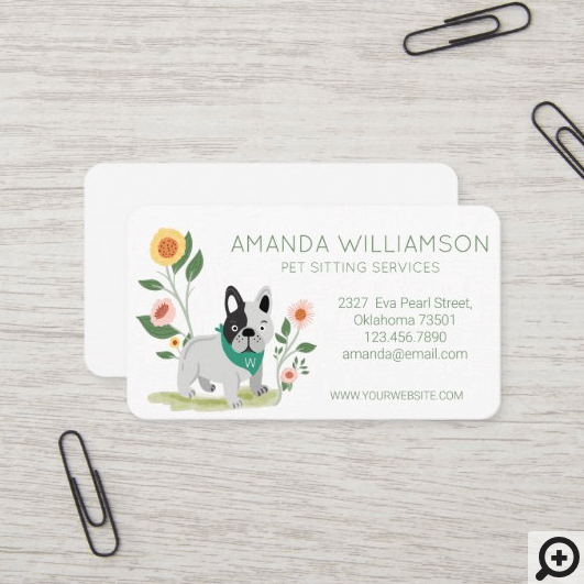 Cute Floral French Bulldog Pet Care Services Business Card