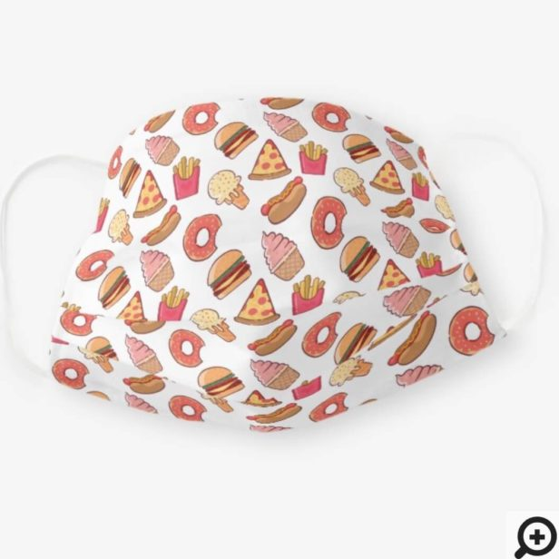Cute & Fun Fast Food Graphic Junk Food Pattern Cloth Face Mask